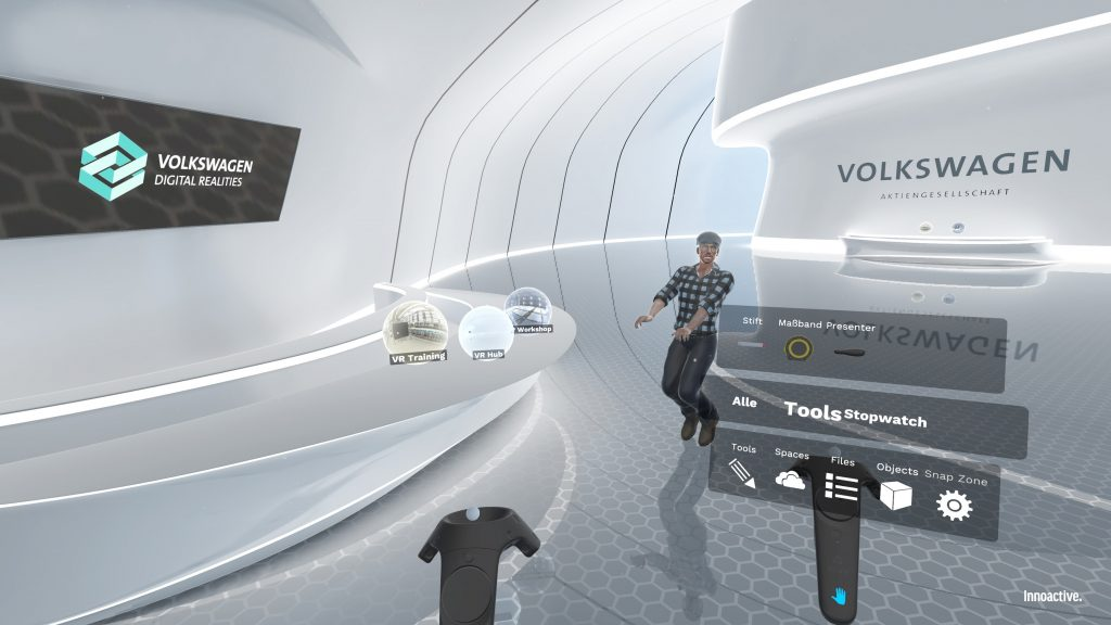 The Volkswagen Digital Reality Hub developed in collaboration with Innoactive bundles all existing VR applications, users and tools in production & logistics at the Volkswagen Group on a single platform.